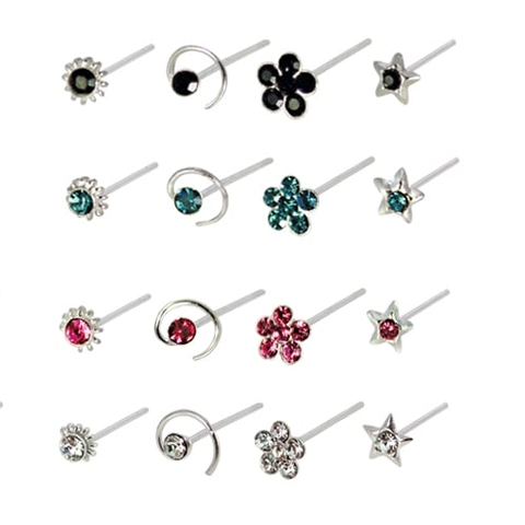 Kingsley Ryan - Assorted Gemset Design Straight Back Nose Pin