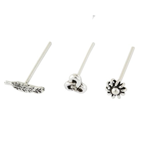 Kingsley Ryan - Assorted Silver Straight Back Nose Pin