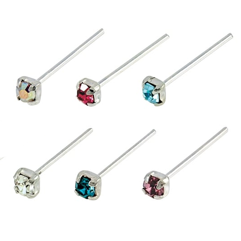 Kingsley Ryan - Assorted  Square Gem Straight Back Nose Pin