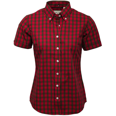 Relco London - Ladies Button Down Shirt Red Tartan