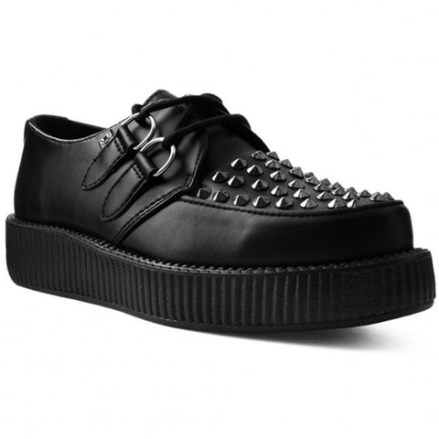 T.U.K -  Black TUKskin™ Studded Low Sole Creeper