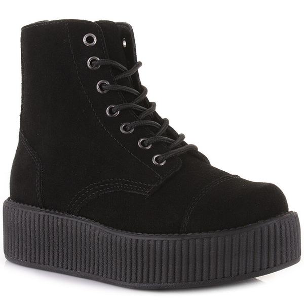 T.U.K - Black Eyelet Creeper Boots