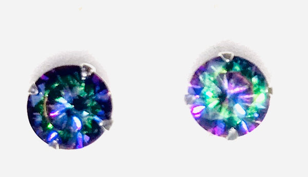 Kingsley Ryan -Silver 6mm Rainbow Clawset Ear Stud (PAIR)