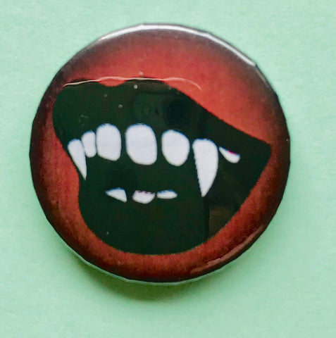25mm Button Badge - Rocky Horror Fangs