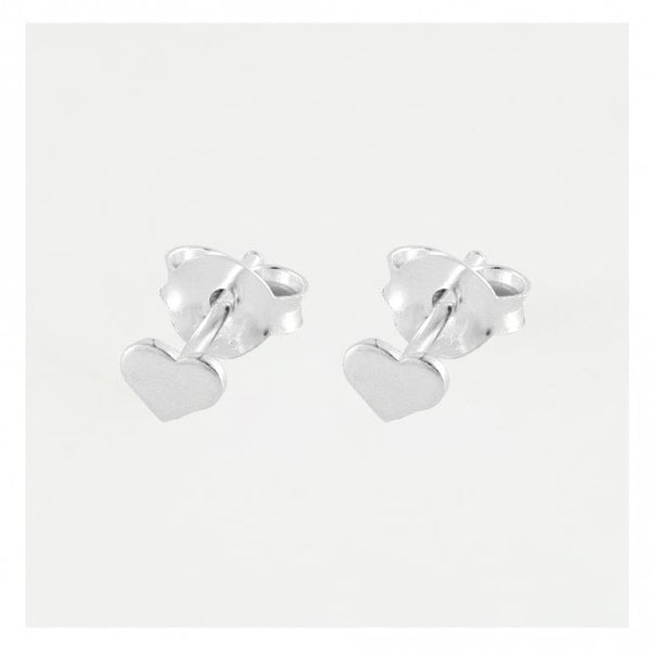 Kingsley Ryan - Silver Flat Heart Ear Stud