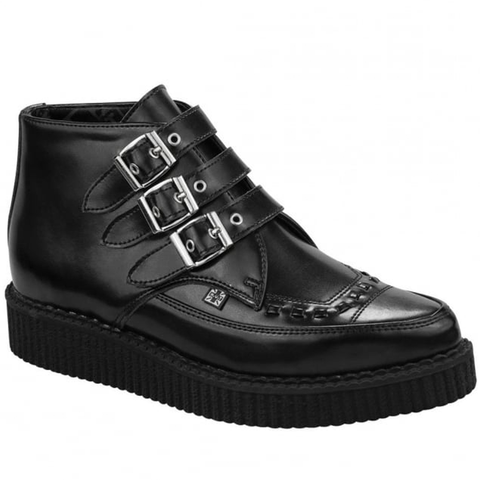 T.U.K - Pointed Black Creeper Buckle Up Boots
