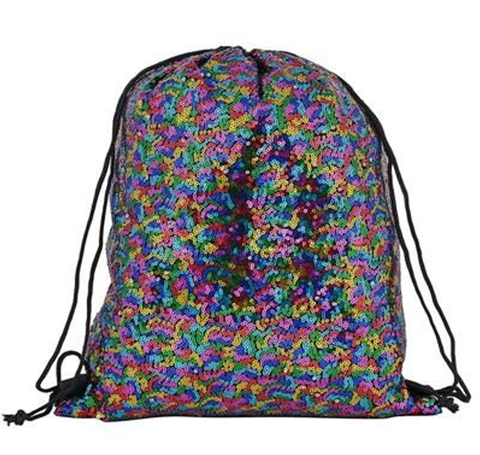Rainbow Sequin Drawstring Bag