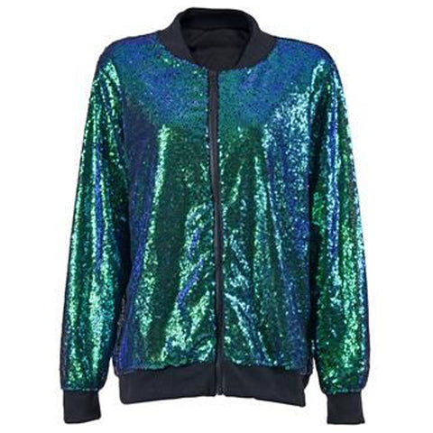 Sequin Bomber Jacket Blue/Green