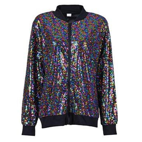Sequin Bomber Jacket Rainbow
