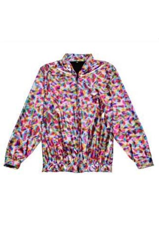 Metallic Bomber Jacket - Silver Rainbow