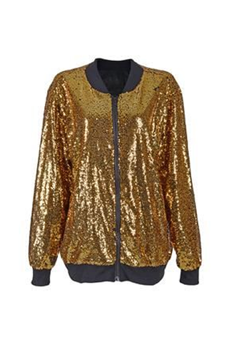 Sequin Bomber Jacket - Gold