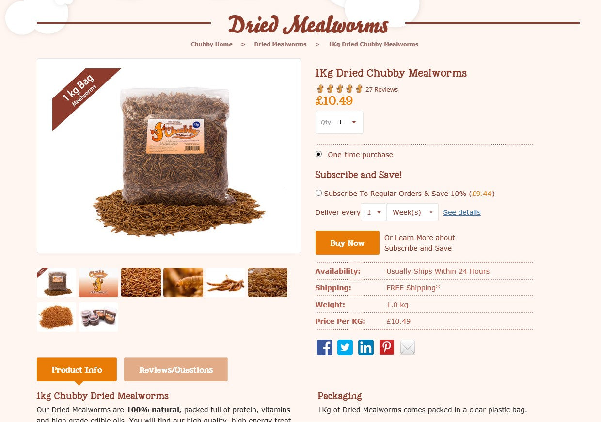 Chubby Mealworms Product Page
