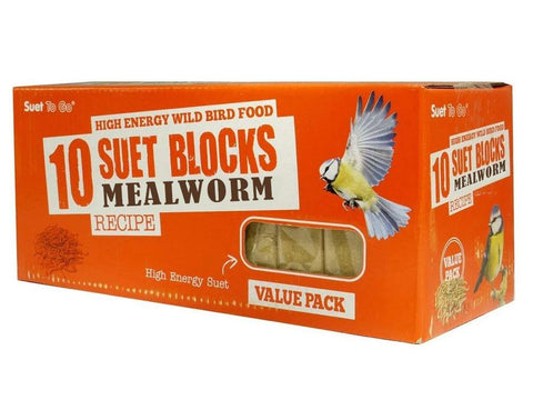 Suet To Go Mealworm Recipe Suet Block 300g (10 Pack)