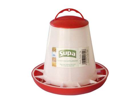 Supa Red and White Plastic Poultry Feeder Holds Up To 1kg