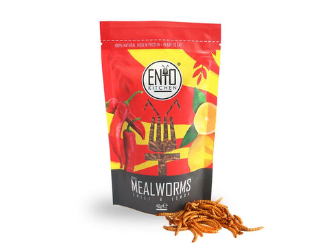 40g of Chili & Lemon Flavour Edible Mealworms for Human Consumption