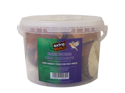 Extra Select 10 Half Filled Mealworm Coconuts in a Tub