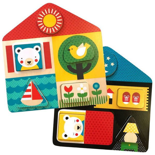 Petit Collage-Day & Night Wooden Tray Puzzle