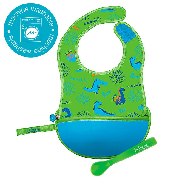 B.box TRAVEL BIB + FLEXIBLE SPOON - DINO TIME