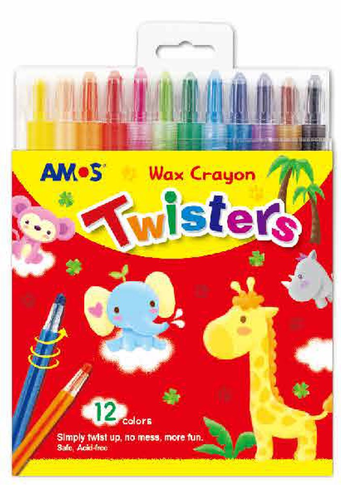 Amos-Twistable Coloured Crayons 12pc -12