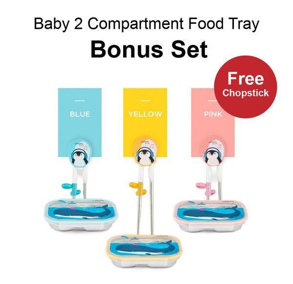 Cuitisan Baby 2-Compartment Food Tray Bonus Set