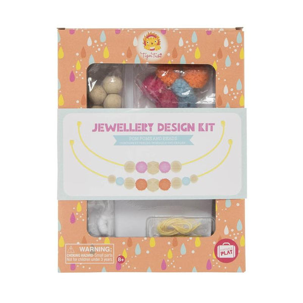 Tiger Tribe Jewellery Design Kit-Pom Poms and Beads