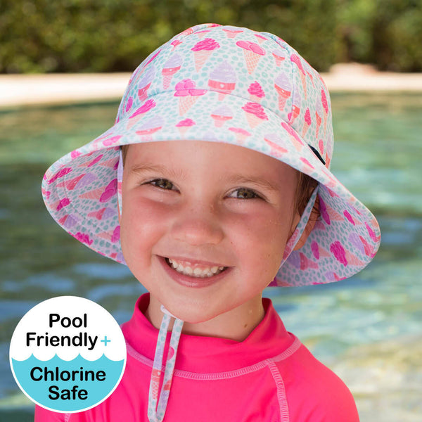 Girls Beach Hat Bucket UPF50+ 'Ice Cream' Print
