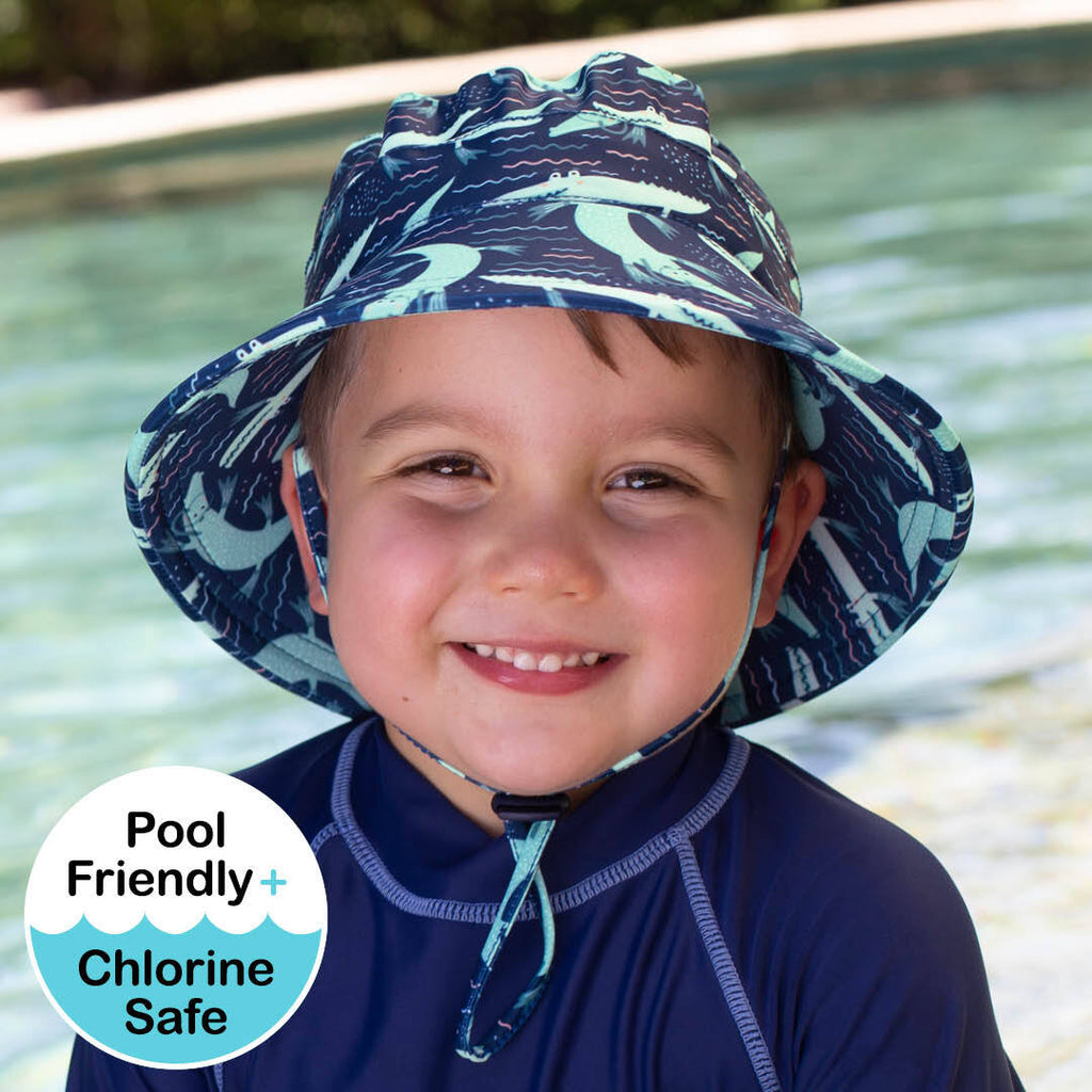Boys Beach Hat Bucket UPF50+ 'Crocodile' Print