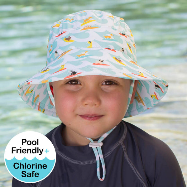 Boys Beach Hat Bucket UPF50+ 'Surf Dog' Print