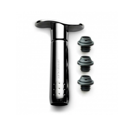 LE CREUSET® - Metal Wine Pump with Three Stoppers (Black Nickel)