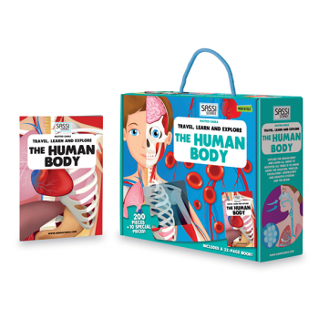 Sassi Travel, Learn and Explore-The Human Body Book and Puzzle 200 pcs