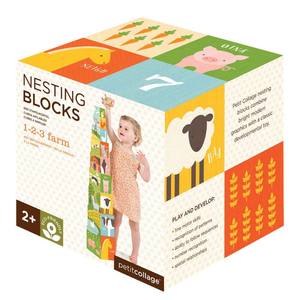 Petit Collage-123 Farm Nesting Blocks