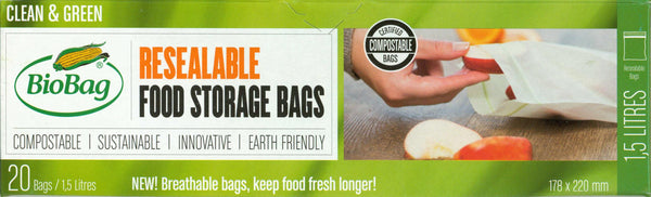 BioBag Resealable Food Storage Bag Box (20 bags)