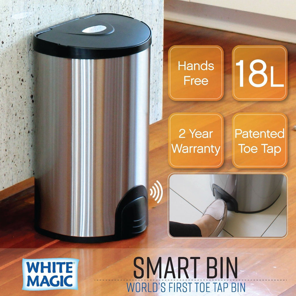 White Magic Smart Bin 18L - Fingerprint Proof Stainless Steel