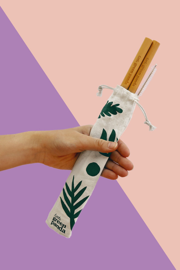 Little Green Panda-Reusable Smoothie Bamboo Straws (2 pcs with cleaning brush)