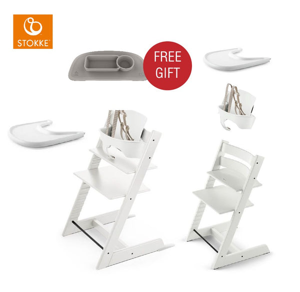 STOKKE Tripp Triapp Baby Set - Whitel/White with Ezpz placement