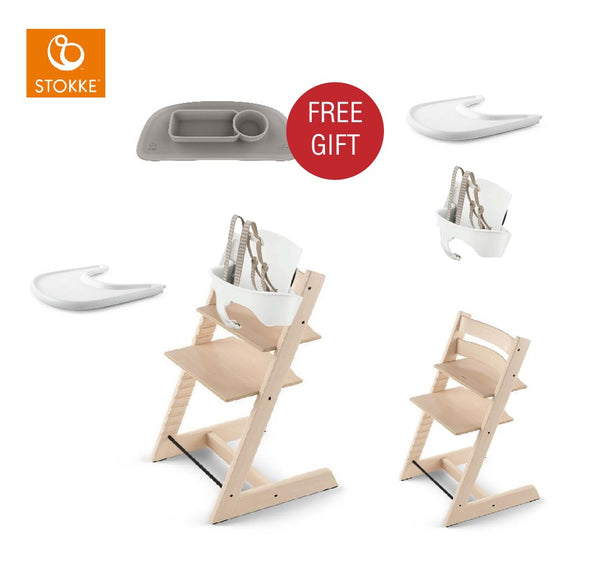 STOKKE Tripp Triapp Baby Set - Natural/White with Ezpz placement