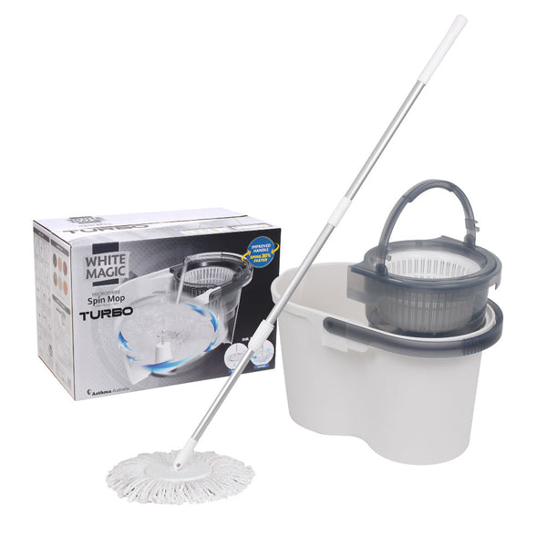 White Magic Spin Mop Hand Press Turbo *New*