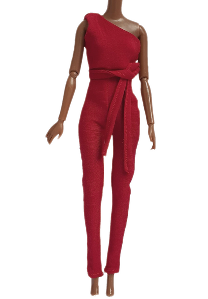 Burgundy Fashion Doll Jumpsuit outfit With Tie For 11.5 Inch Dolls and Barbie Doll Clothing
