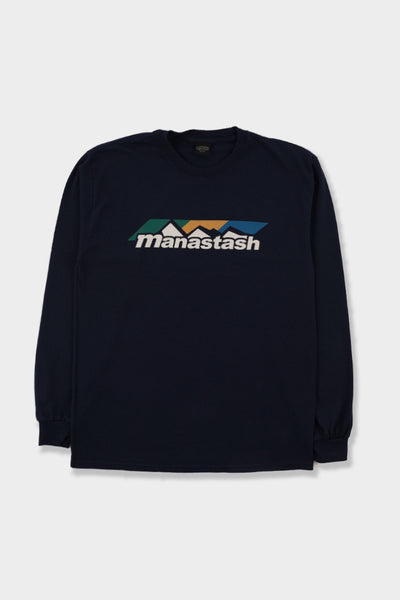 Manastash Colour Scheme Logo LS T-Shirt Navy