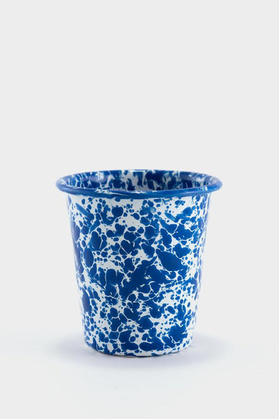 Crow Canyon Marbled Enamel Short Tumbler - Blue / White