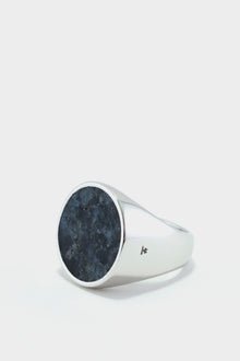 Tom Wood Flush Larvikite Circle Ring