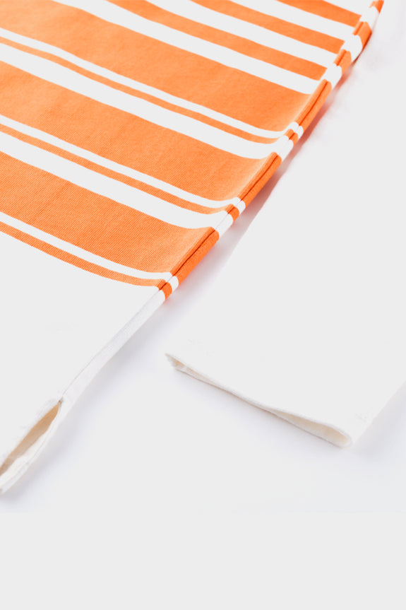 Albam Striped Mid Weight Sweat White Burnt Orange