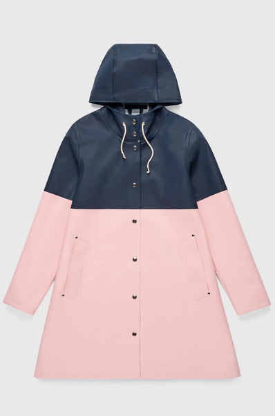 Stutterheim Stockholm Blocked Raincoat - Navy / Pink