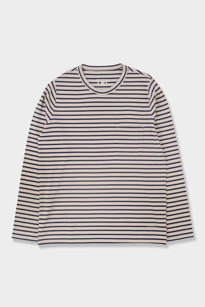 The Workers Club LS T Shirt White Navy