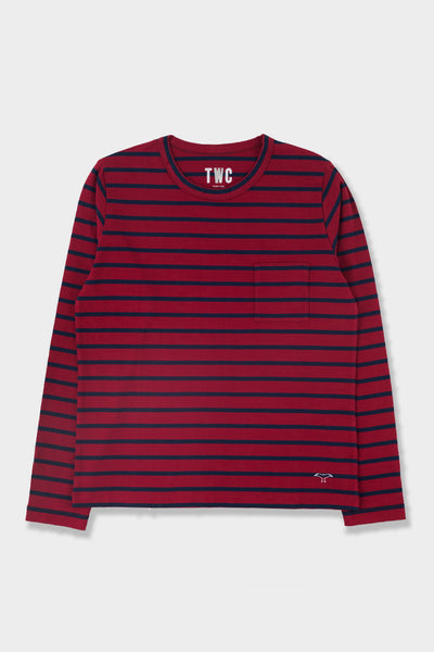 The Workers Club Long Sleeve Stripe Tee Red Navy