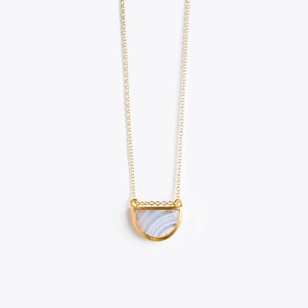 Wanderlust Life Sunburst Fine Gold Necklace Blue lace Agate