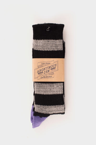 Stripe Socks Black Grey -