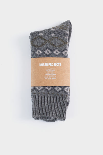 Norse Projects Bjarki Fairisle Socks - Light Grey Melange