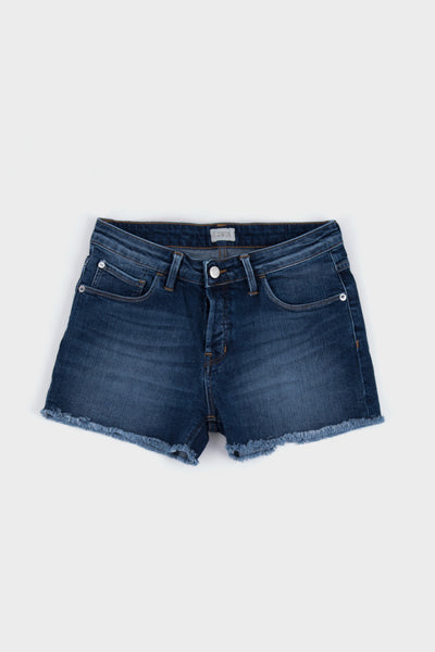 Womens Boyfriend Short Blue Mid Skim Used Wash -  - 1