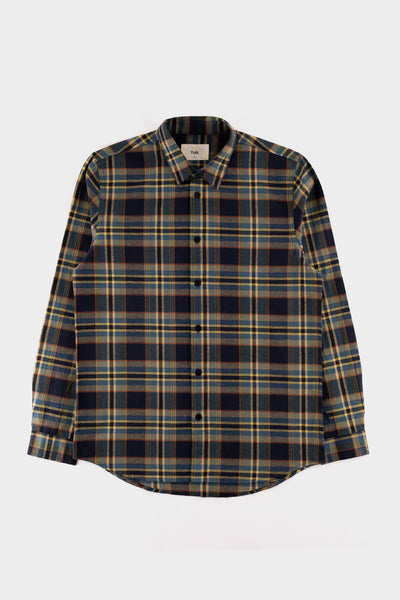 Folk Checked Shirt Navy Green Multi